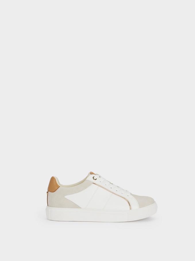 Chaussures De Sport Contrastantes À Plateforme, Blanc, hi-res