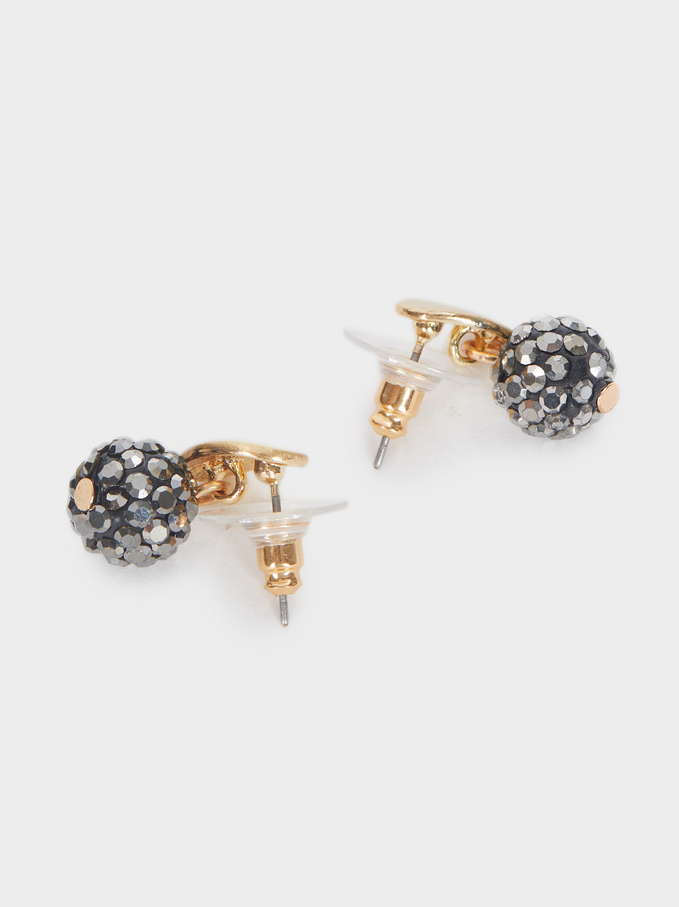 Stone Stud Earrings, Grey, hi-res
