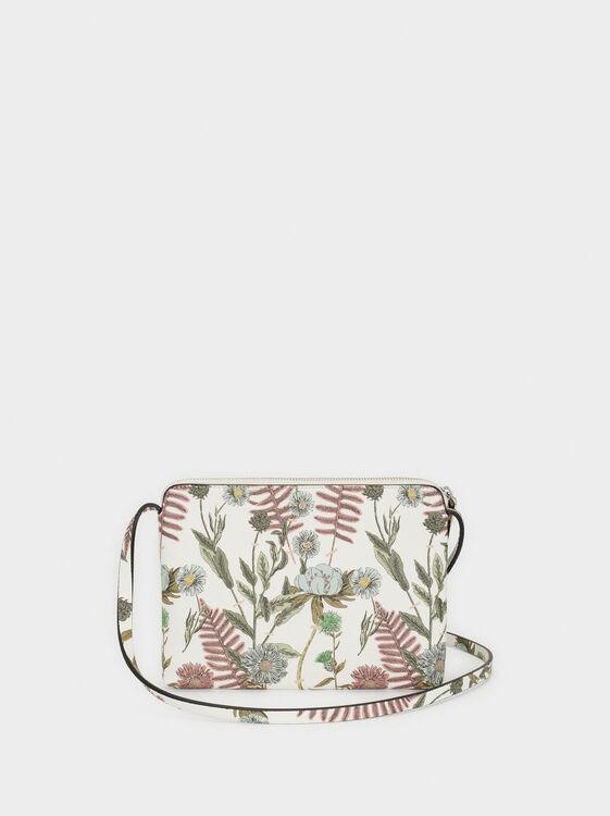 Floral Print Shoulder Bag, Ecru, hi-res