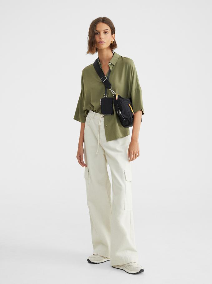 Plain Oversized Shirt, Khaki, hi-res