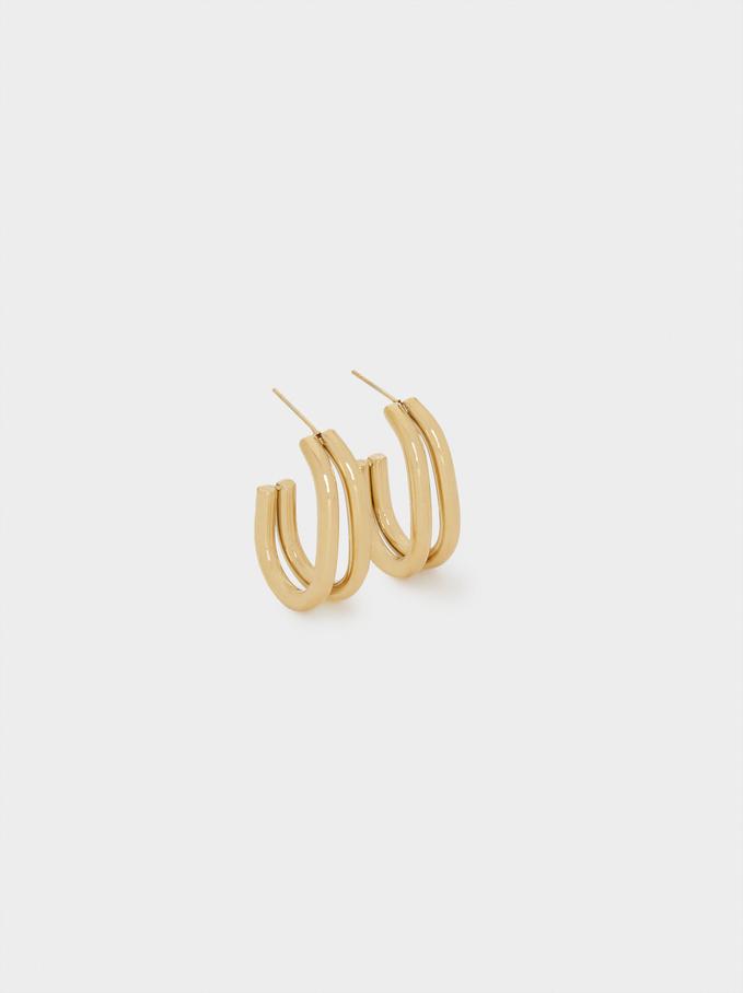 Medium Golden Stainless Steel Earrings, Golden, hi-res