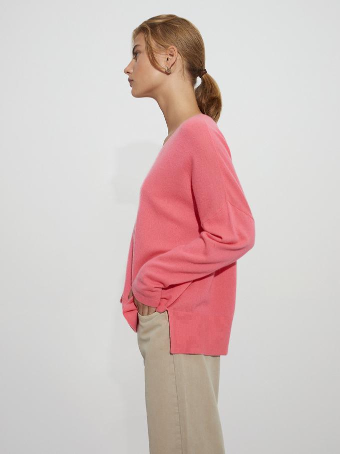 100% Cashmere V-Neck Knitted Sweater, Pink, hi-res