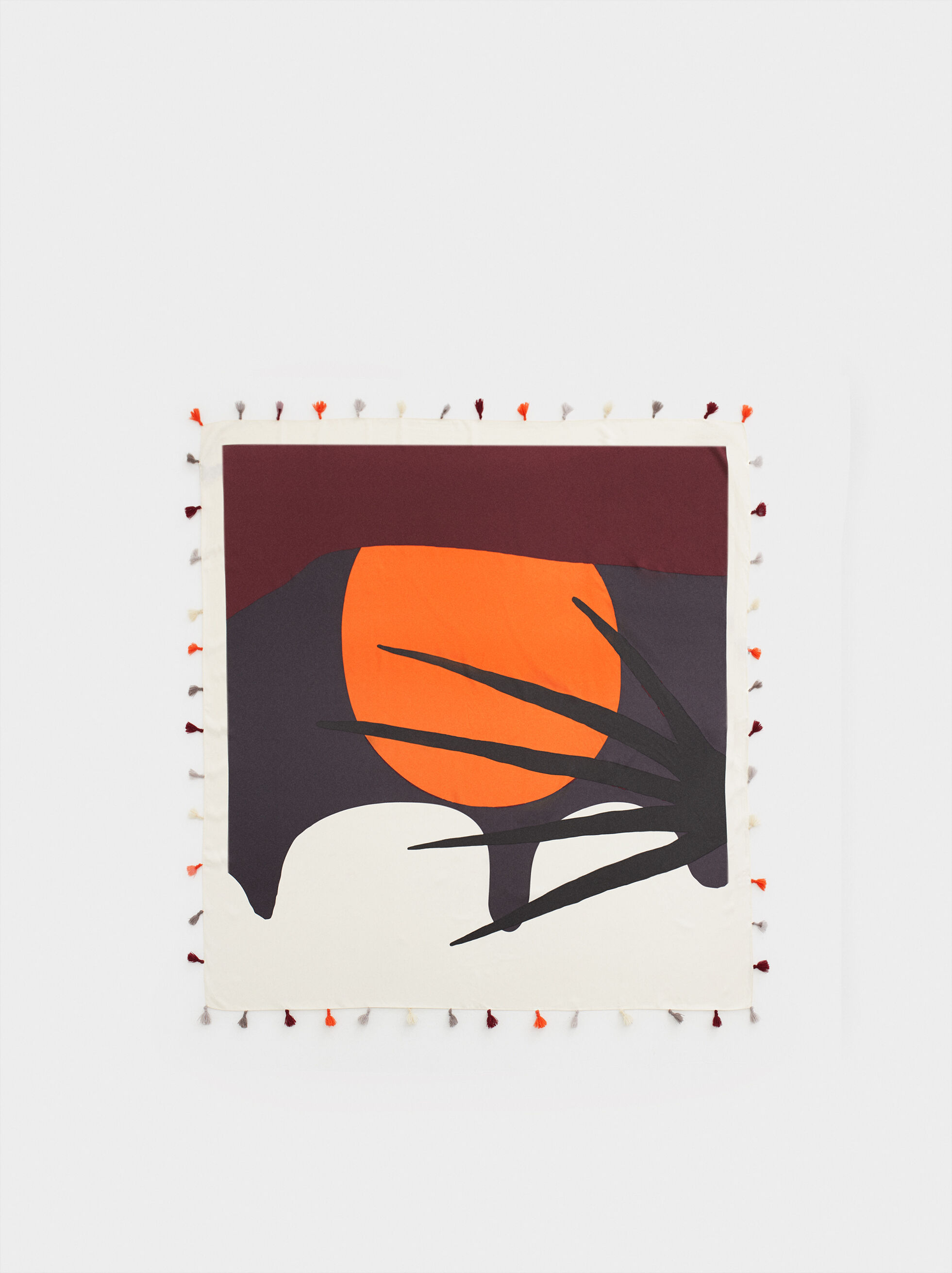 Palm Tree Print Square Scarf, Multicolor, hi-res