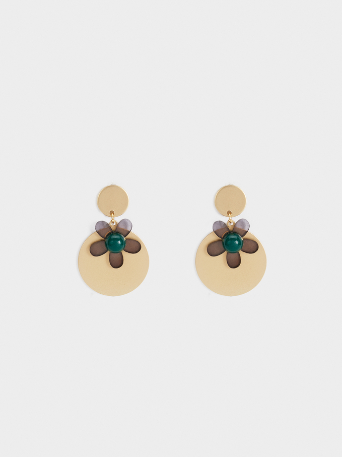 Stone Story Medium Flower Earrings, Green, hi-res