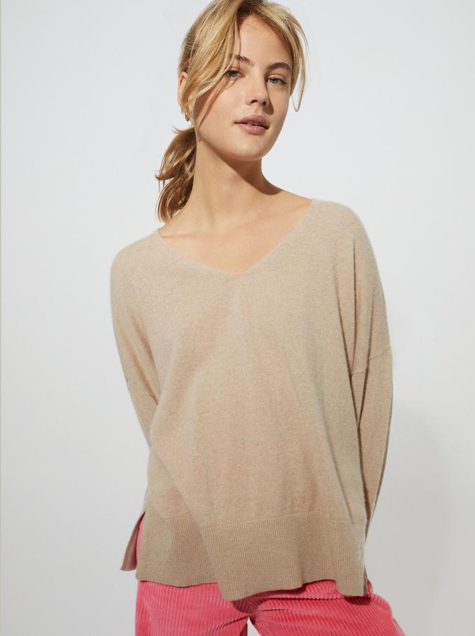100% Cashmere V-Neck Knitted Sweater, Beige, hi-res