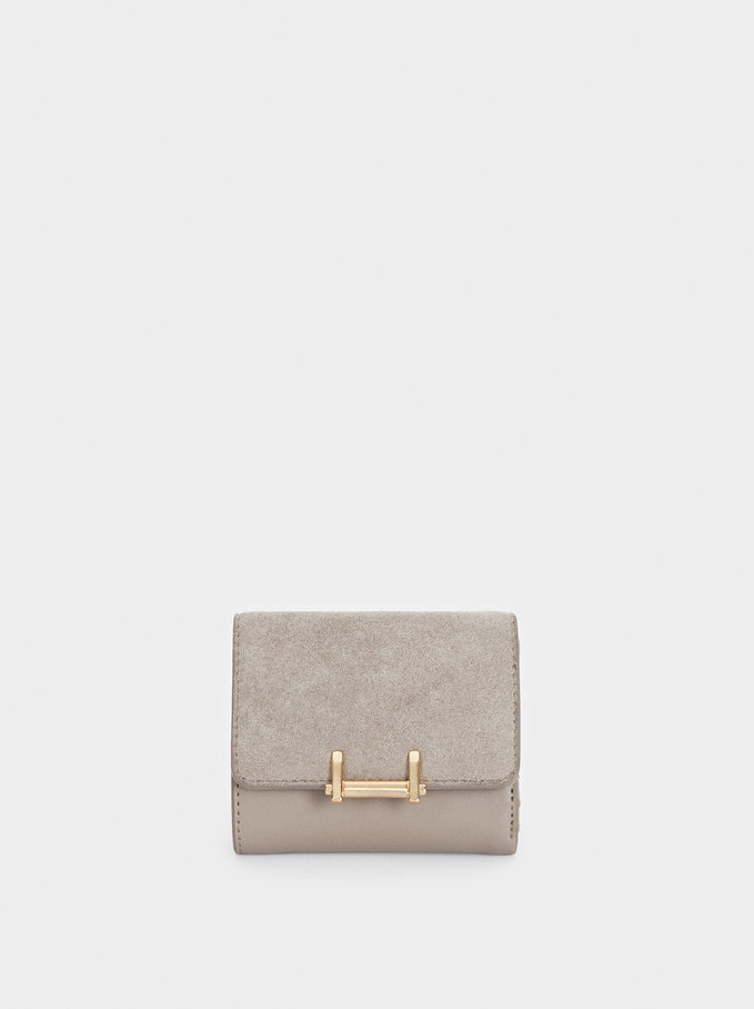 Faux Suede Compact Purse, Brown, hi-res