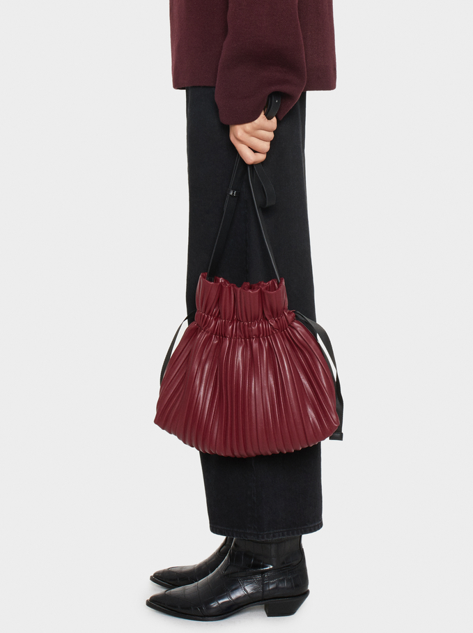 Pleated Crossbody Bag, Red, hi-res