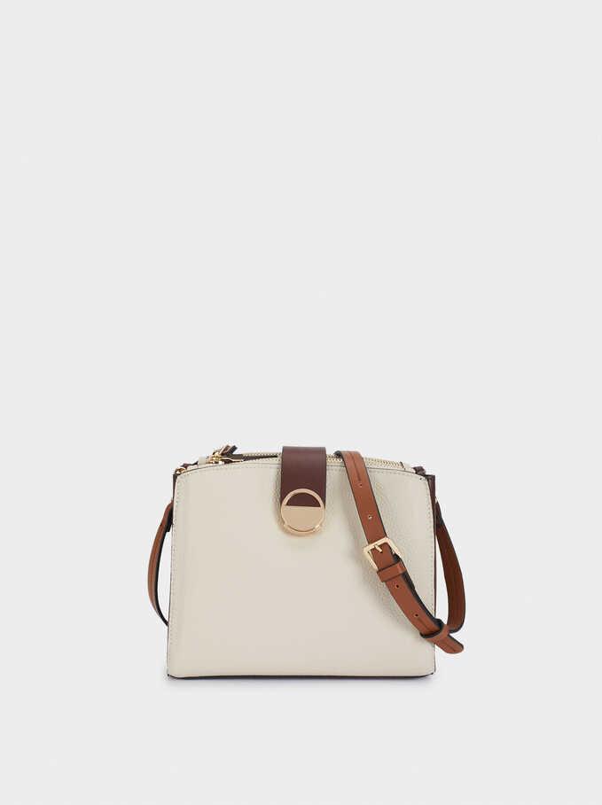 Embossed Shoulder Bag With Metal Detail, Ecru, hi-res