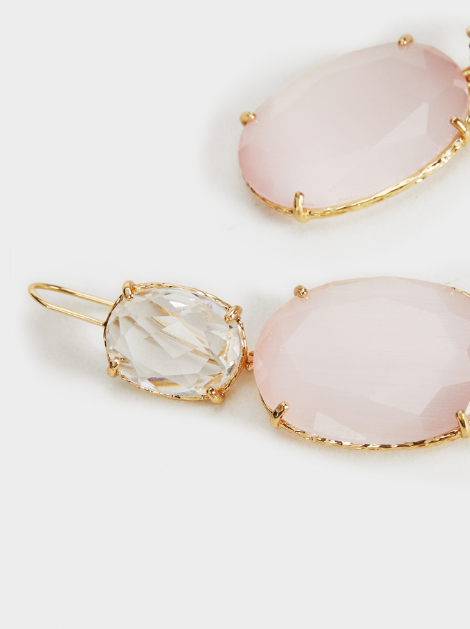 Crystals Earrings, Pink, hi-res