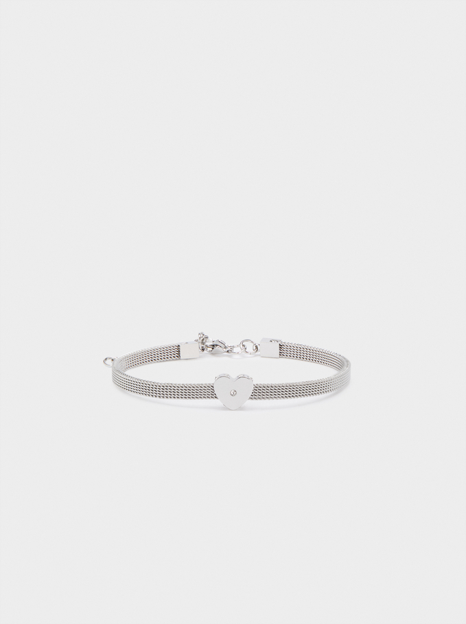 Steel Bracelet With Heart, Silver, hi-res