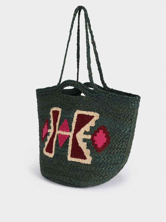 100% Jute Shopper Bag With Embroidery, Green, hi-res