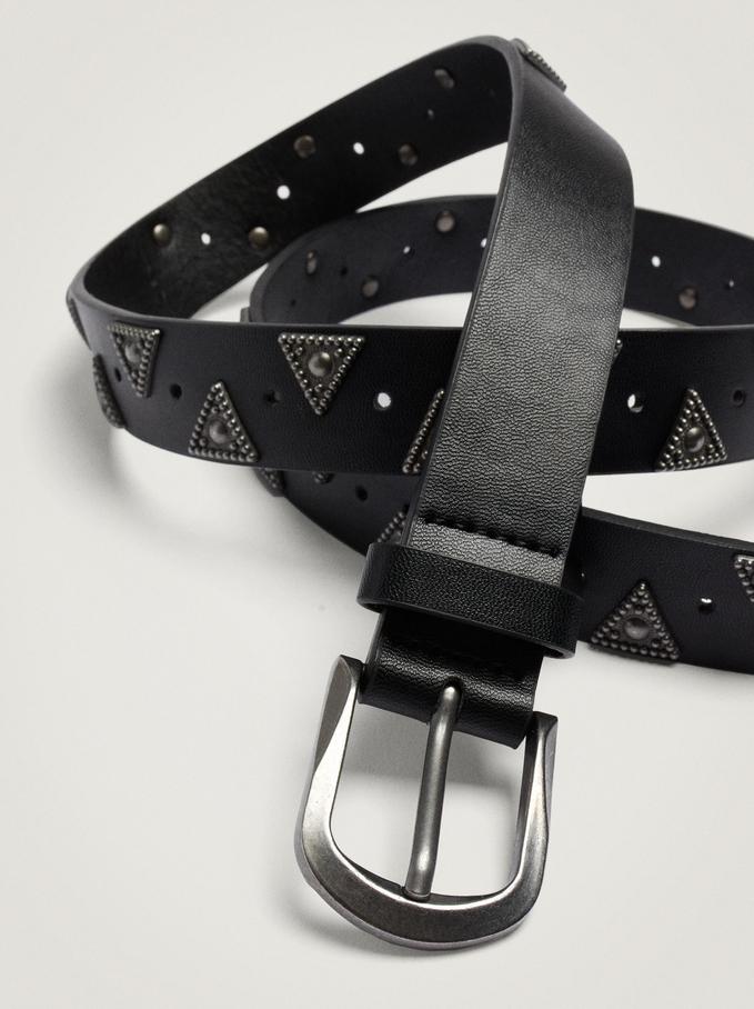 Cinturón Con Tachuelas, Negro, hi-res