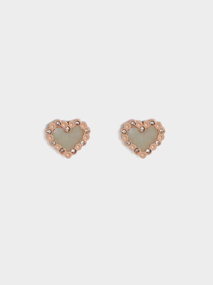 Steel Heart Earrings, Orange, hi-res