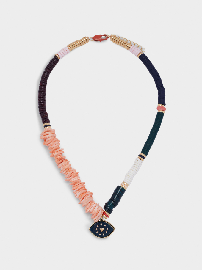 Short Necklace With Shell And Eye, Multicolor, hi-res