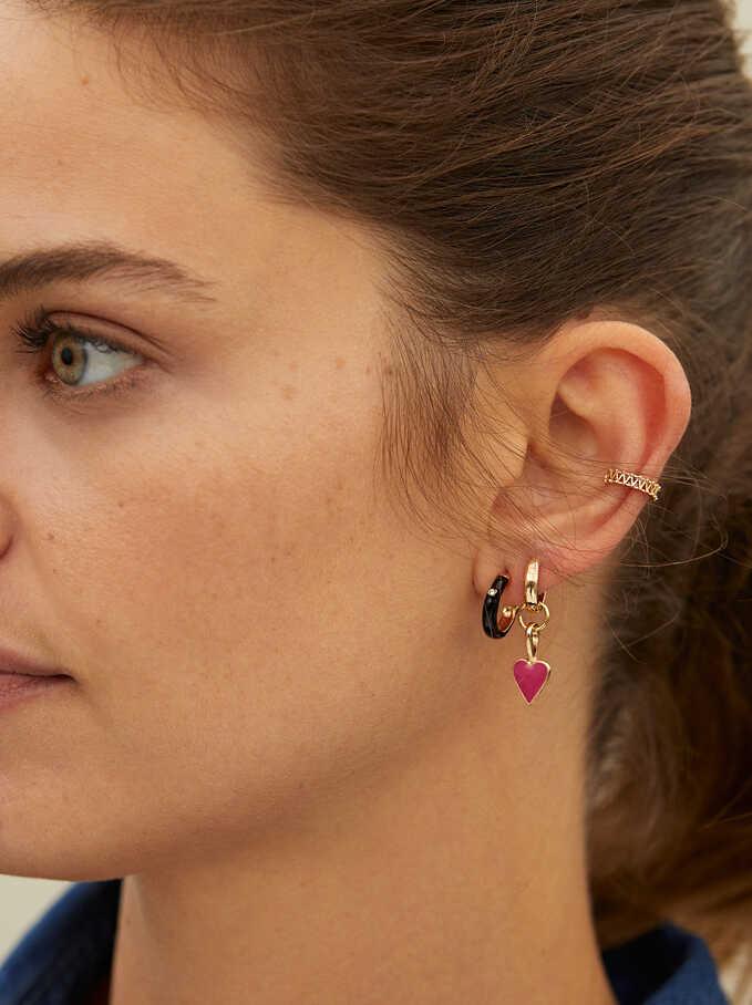 Set Of Small Hoop Earrings, Golden, hi-res