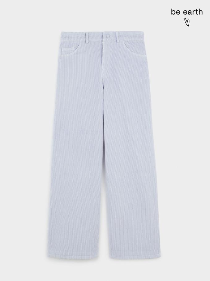 Pantalón Recto De Pana 100% Algodón, Azul, hi-res