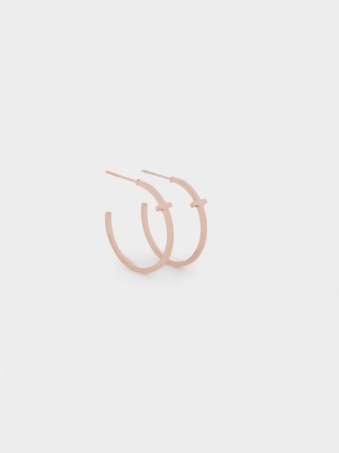 Stainless Steel Cross Hoop Earrings, Orange, hi-res