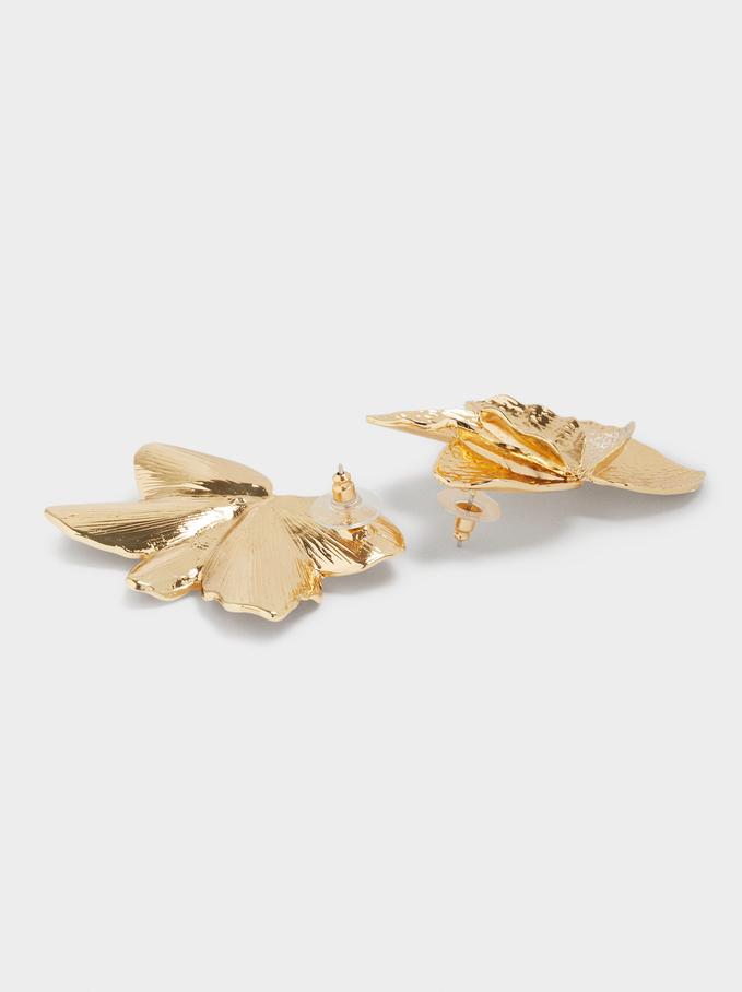 Flower Earrings, Golden, hi-res