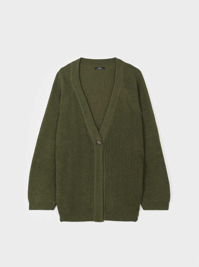Knit Cardigan With Button Fastening, Khaki, hi-res