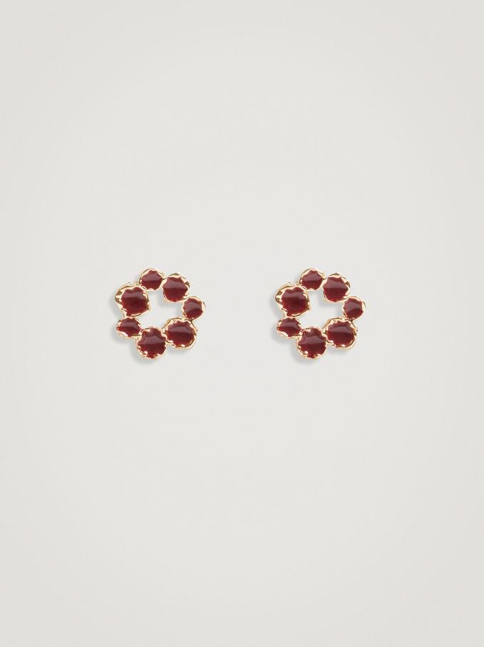 Flower Earrings, Bordeaux, hi-res