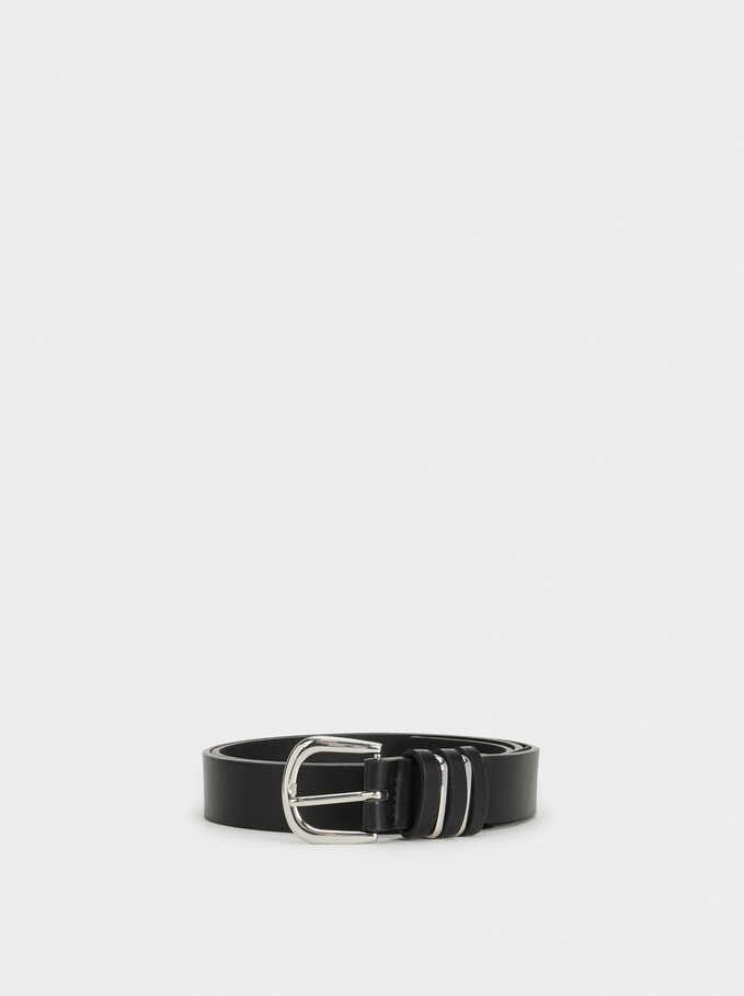 Plain Belt With Buckle, Black, hi-res
