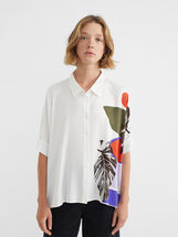 Floral Print Flowing Shirt, White, hi-res