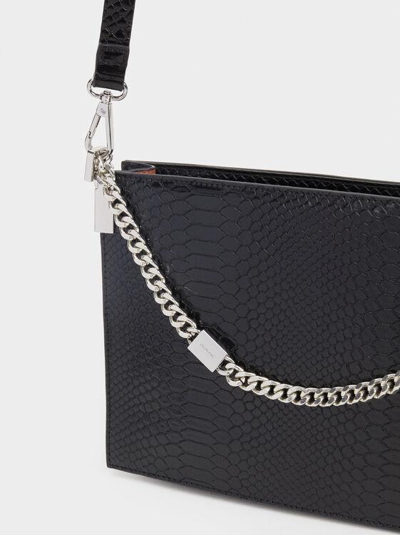 Animal Embossing Handbag, Black, hi-res