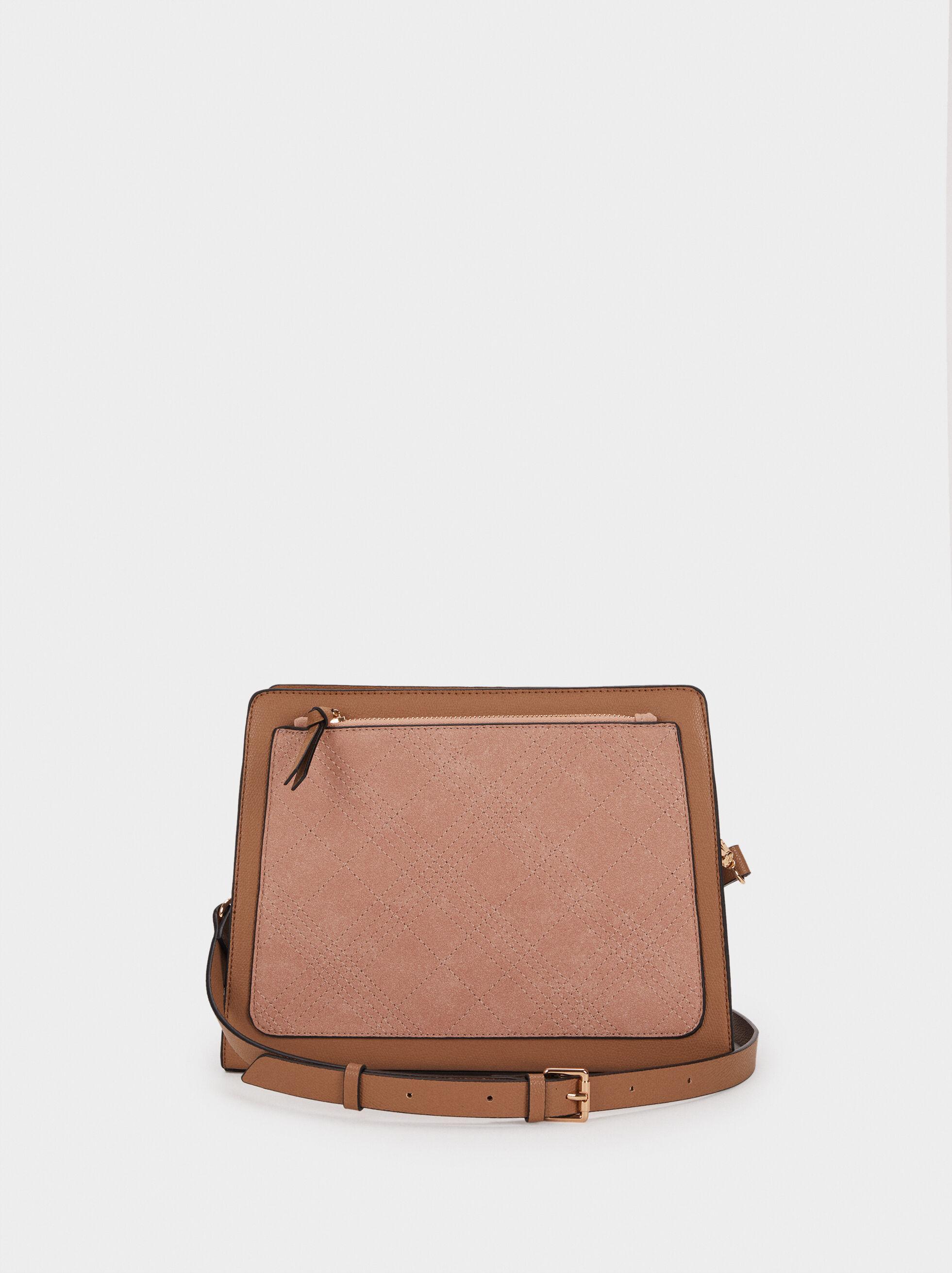 Shoulder Bag With Topstitching, Pink, hi-res