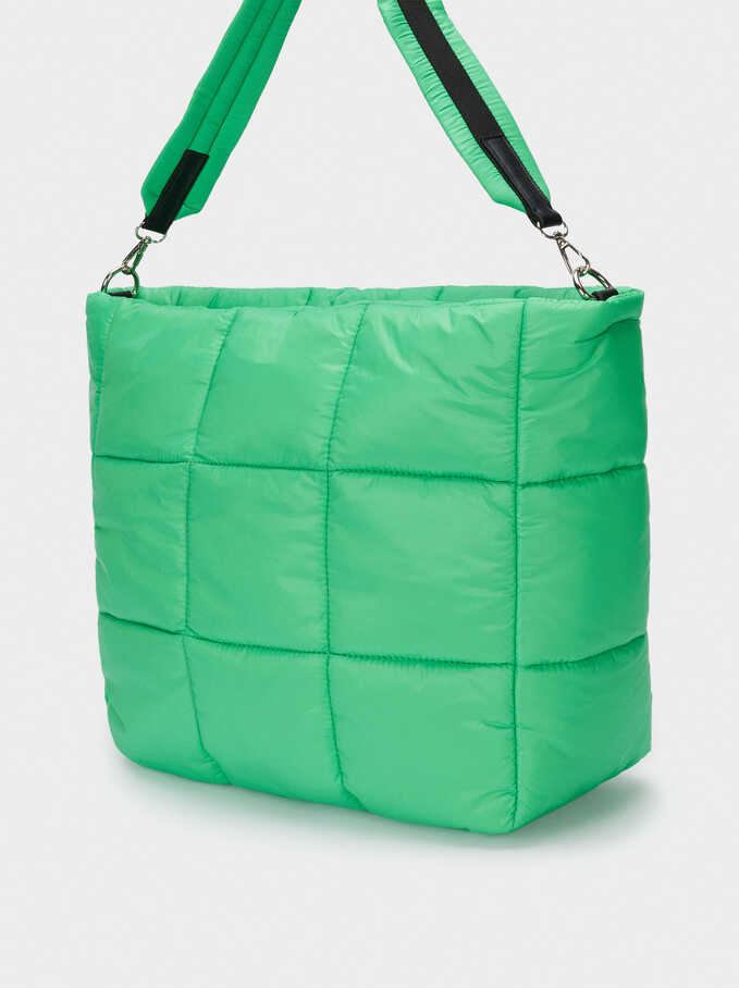 Bolso Shopper Acolchado De Náilon, Verde, hi-res