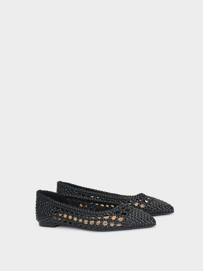 Plaited Ballerinas, Black, hi-res