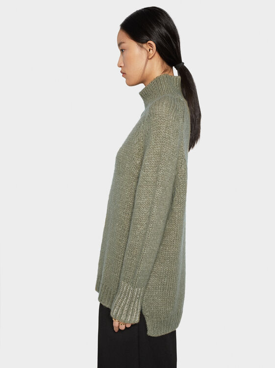Sweater With Shimmer Thread Cuffs, , hi-res