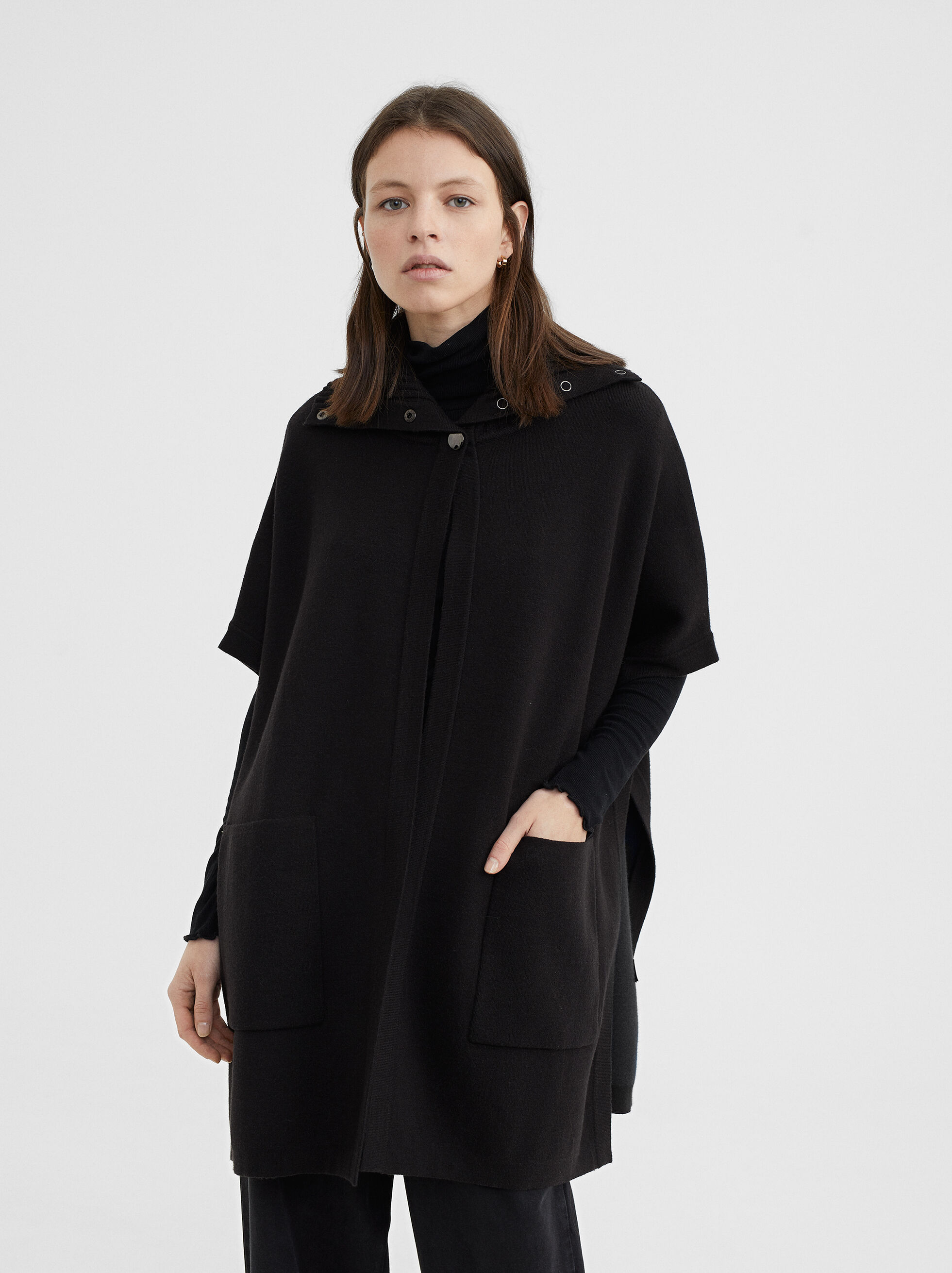 Knit Poncho, Black, hi-res