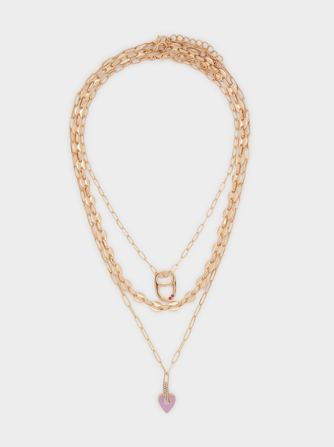 Set Of Contrasting Necklaces With Heart, Golden, hi-res