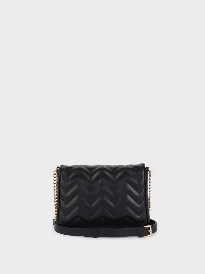 Quilted Crossbody Bag With Chain Strap, Black, hi-res
