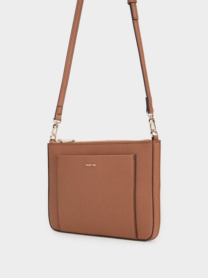 Plain Crossbody Bag, Camel, hi-res