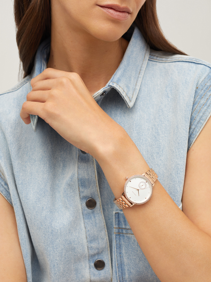 Watch With Steel Wristband And Gems On The Face, Orange, hi-res