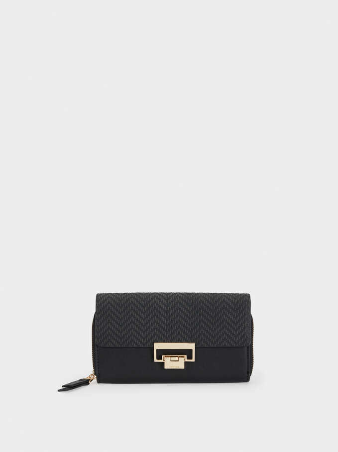 Large Purse With Embossed Flap, Black, hi-res