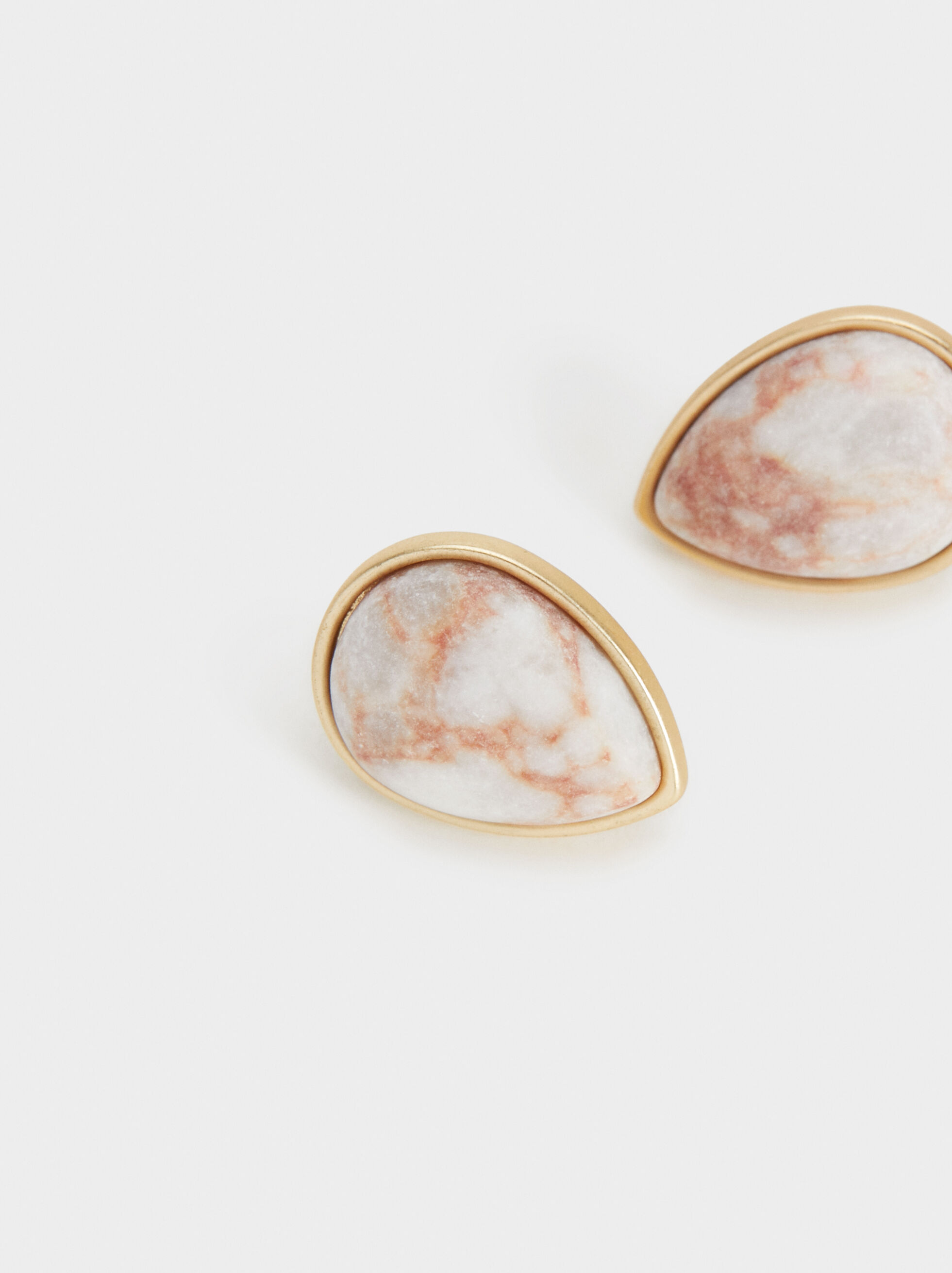Stone Story Short Earrings With Stone, Pink, hi-res