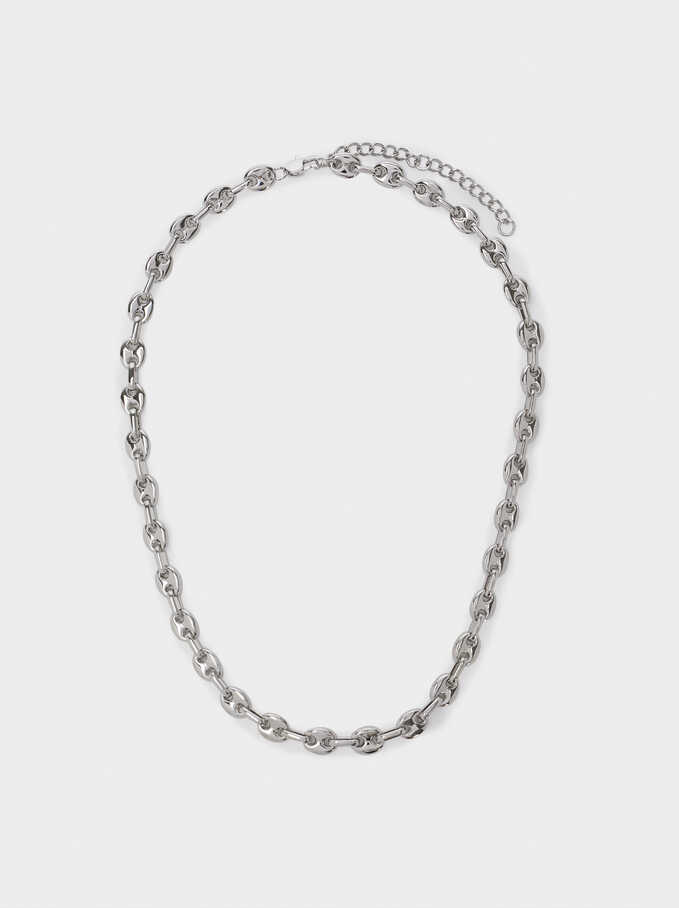 Stainless Steel Chain Necklace, Silver, hi-res