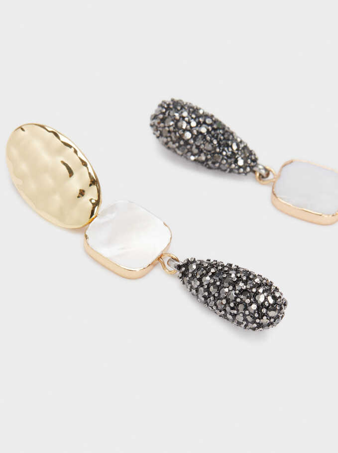 Long Shell Earrings With Crystals, Golden, hi-res
