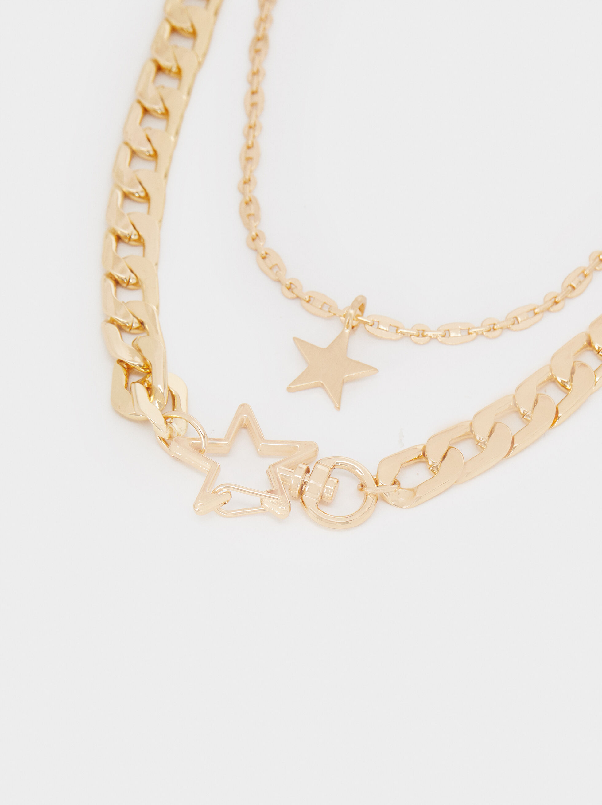 Short Gold Chain Necklace With Gold Star, Golden, hi-res
