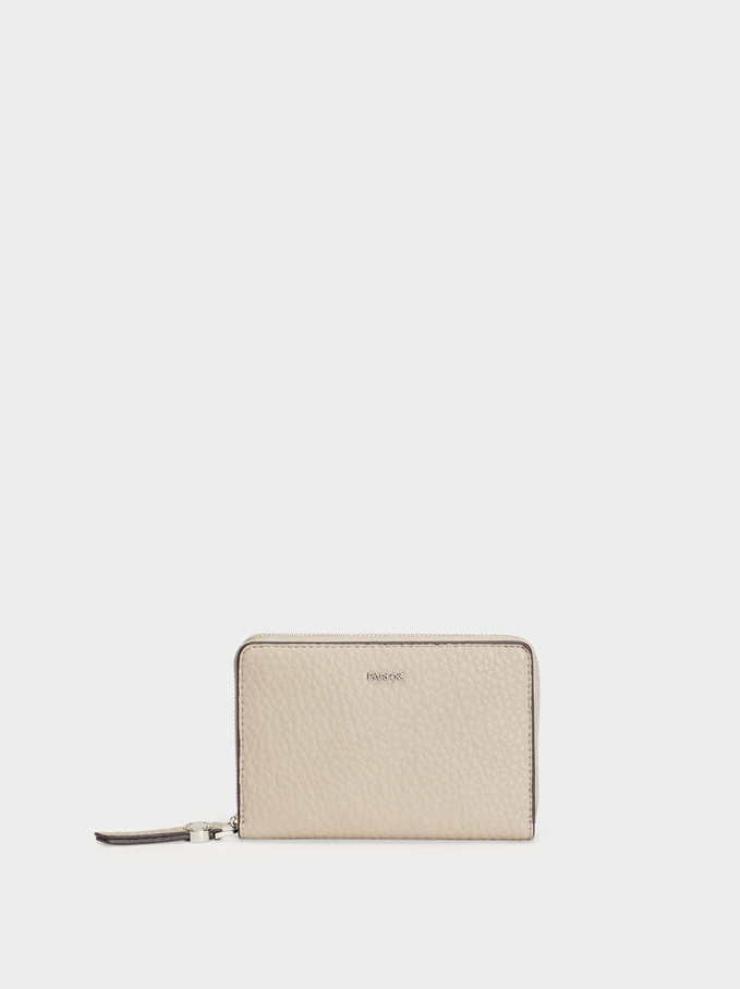 Plain Wallet, Brown, hi-res