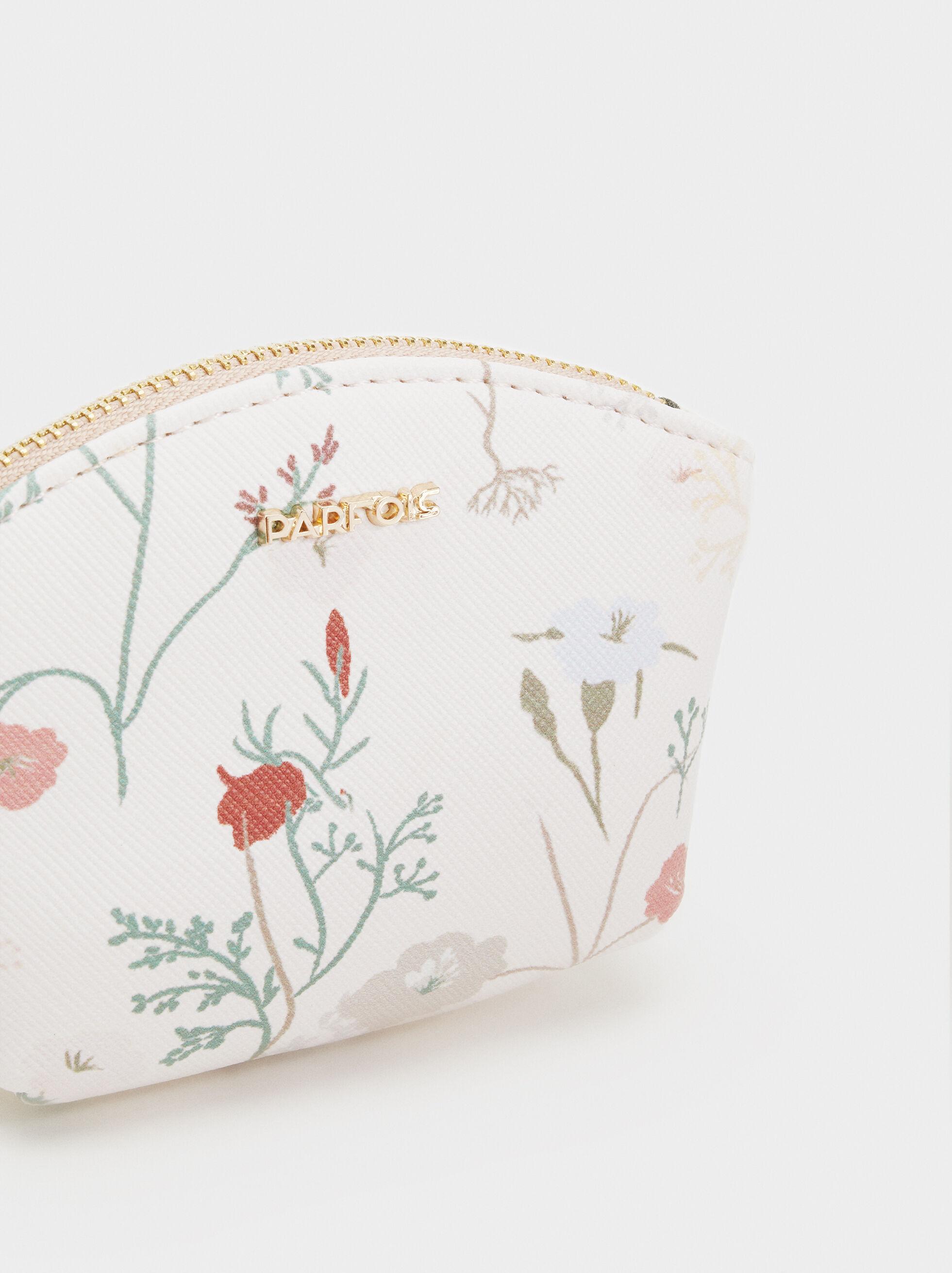Floral Print Small Purse, Ecru, hi-res