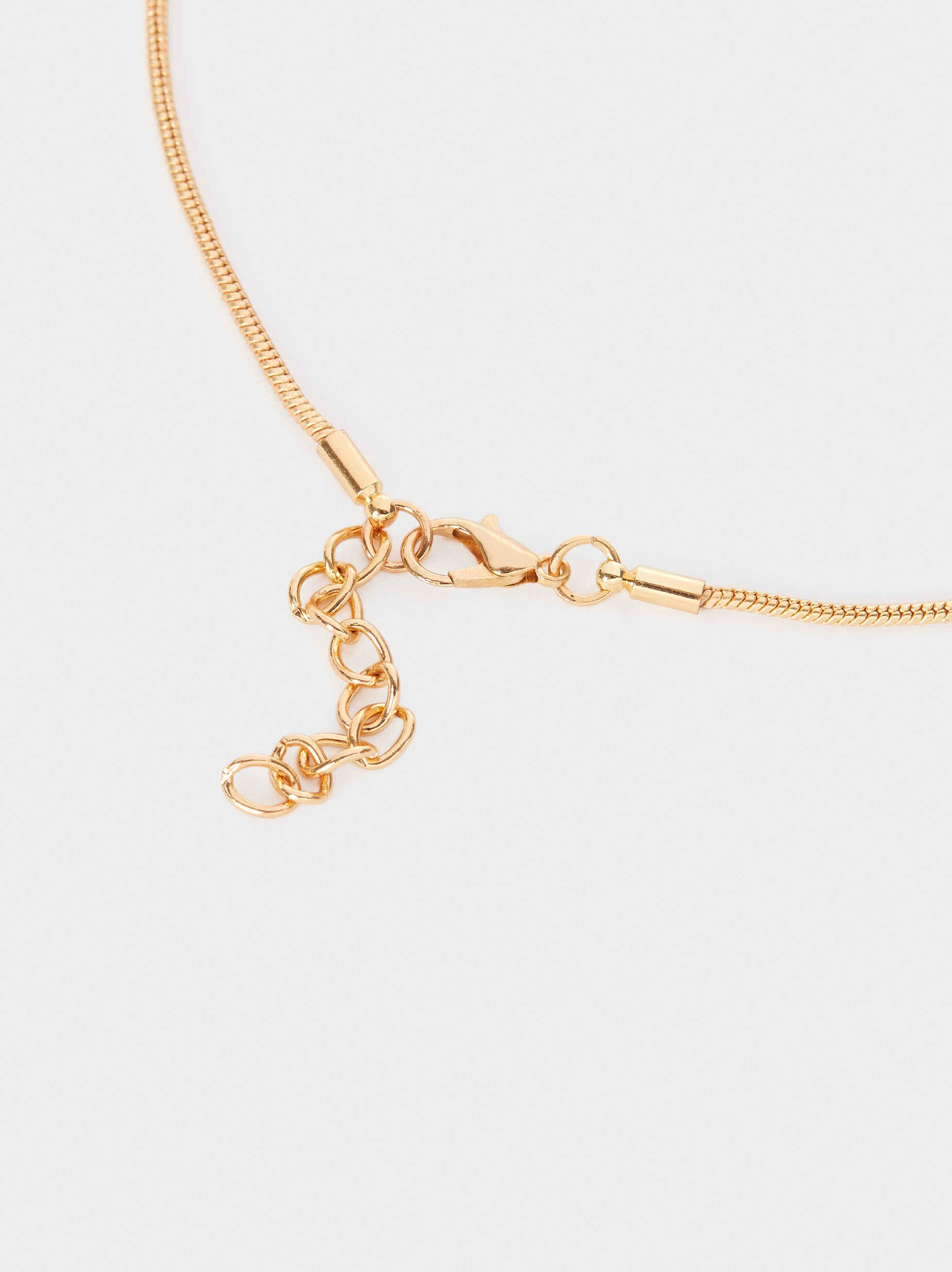 Long Gold Metal Necklace, Golden, hi-res