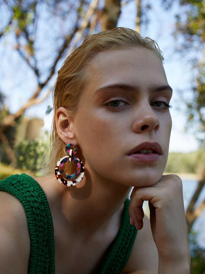 Long Multicoloured Earrings, Multicolor, hi-res