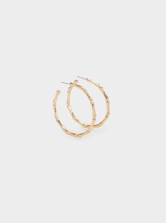 Hoop Fever Medium Bamboo-Effect Hoop Earrings, Golden, hi-res