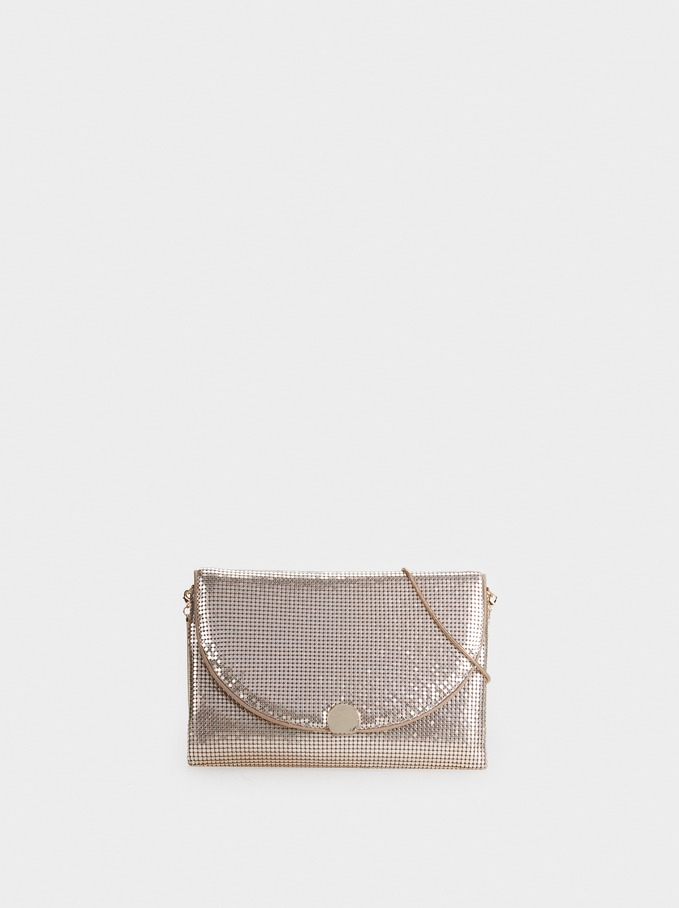 Mini Mesh Party Clutch, Golden, hi-res