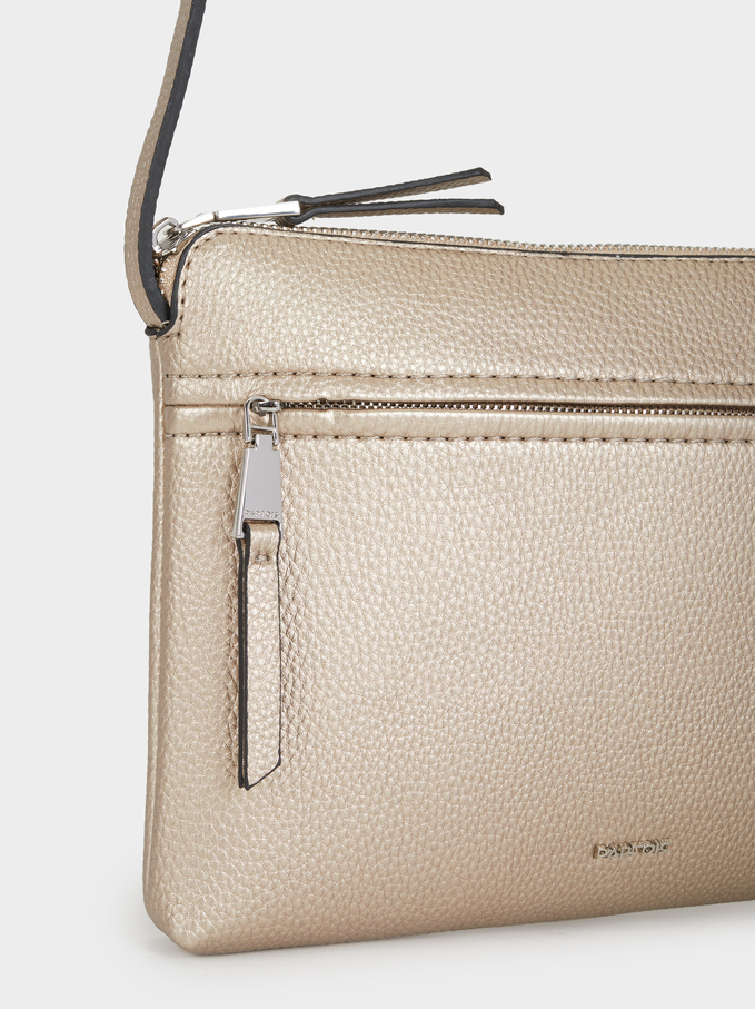 Crossbody Bag With Outer Pocket, Silver, hi-res