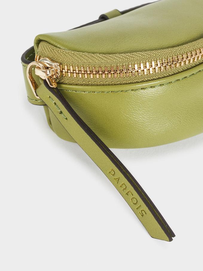 Multi-Purpose Plain Purse With Zip Closure, Green, hi-res