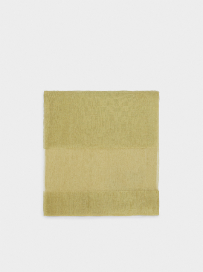 Plain Wedding Scarf, Yellow, hi-res